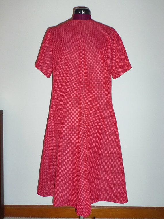 1960s Ina Carol vintage cute red sheath dress - size 16.5 (L/XLXXL)