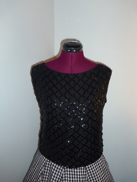 1960s black sequined sleeveless top by Stylebest - size M/L/XL