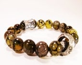 Fire Agate Amber and Metallic Accent Beads Unisex Bracelet