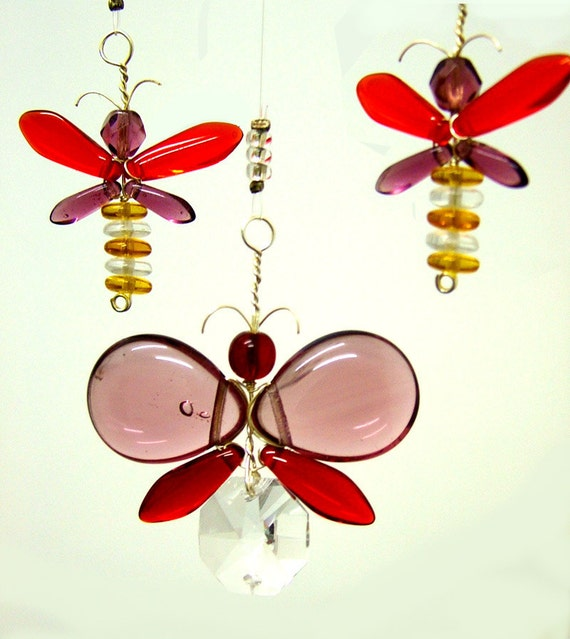 Butterfly Mobile Crystal & Glass - Purple and Red ( 4 piece)