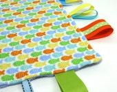 Sensory Blanket / Ribbon Blanket / Tag Blanket / Fish / Boy
