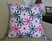 "Decorative Throw Pillow Cover / 16"" x 16"" / Flowers / Pink / Navy Blue / Grey"