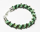 Beaded Bracelet Green Catterpillar Kumihimo Beaded Satin Cord Green Jewelry