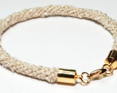 Bracelet Kumihimo Bamboo Beige Fiber Gold Clasp Jewelry