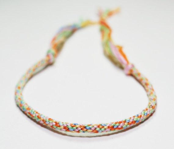 Rainbow Bracelet Childrens Rainbow Bright Fiber Kumihimo Jewelry Cotton Jewellery