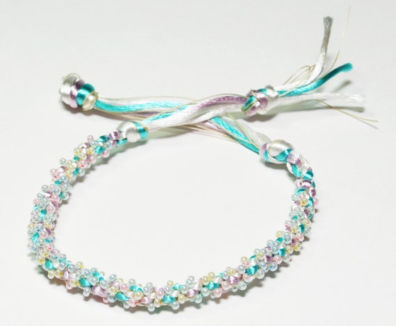 Beaded Kumihimo Bracelet Baby Pastel Jewelry Mom to Be Gift Baby Shower Gift