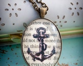 Anchors Aweigh (Simple) - Glass Pendant Necklace