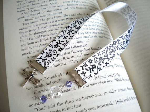 CLEARANCE--Black and White Flowered Ribbon Bookmark with Dragonfly Charm and Purple and Crystal Beads