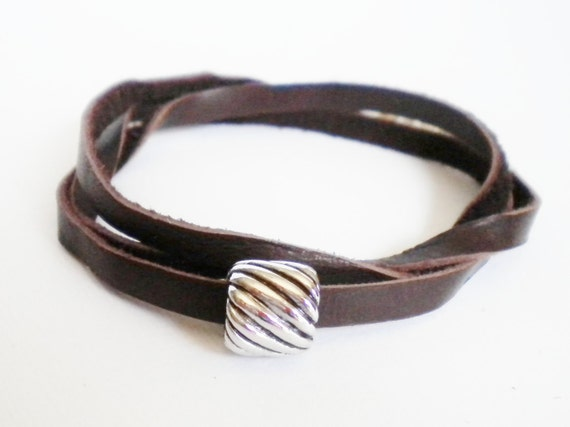 Chocolate Brown Leather Convertible Wrap Bracelet with Silver Twist Bead