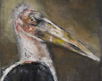The Watchful Marabou - Signed Limited edition print size 2