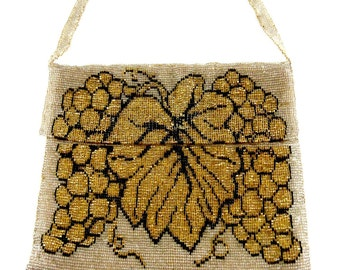 Early Victorian Handmade Beaded Purse- Vintage Bag- Antique Pocket book