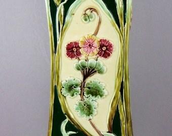 Victorian Majolica Art Nouveau Vase- Antique Vase