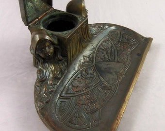 Art Nouveau Inkwell- Spelter with Bronze Overlay- Victorian Inkwell Art Nouveau Woman