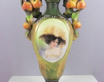 Majolica Portrait Vase (Made in Austria) Victorian Vase