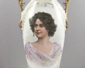 Lusterware Portrait Vase- Victoria Austria Hand Painted Vase