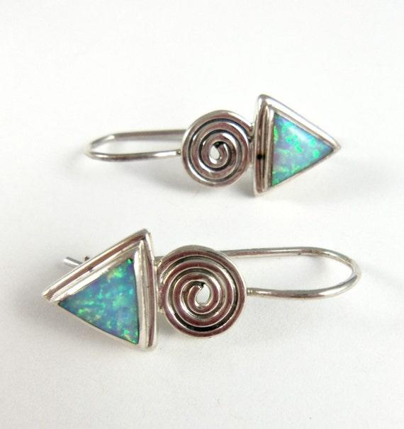 Mexican Opal Earrings- Funky Triangle Earrings
