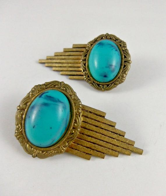 Art Deco Stud Earrings- Vintage Brass Stud Earrings