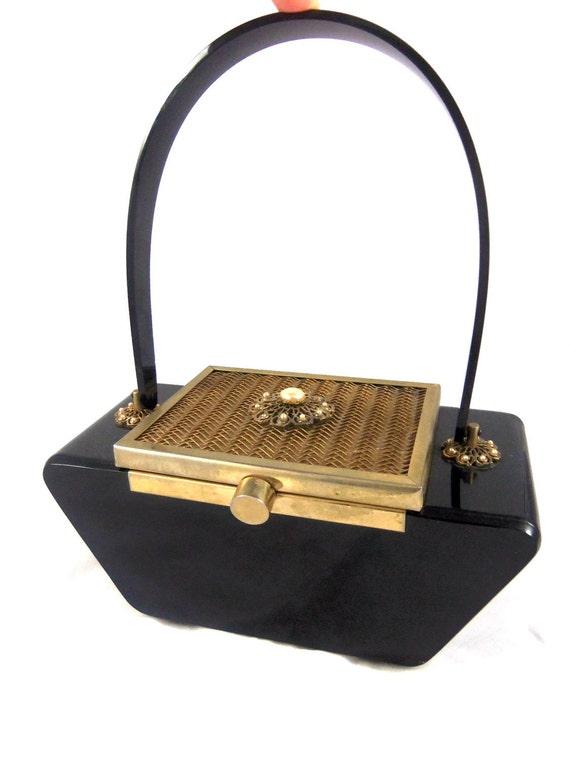 Black Lucite Handbag- Vintage Lucite Purse