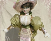 Victoria OOAK Art Doll, Hand Sculpted 1800's Edwardian/Victorian Era Lace Boudoir Doll, Cottage Shabby Chic with Hat Box/FREE SHIPPING