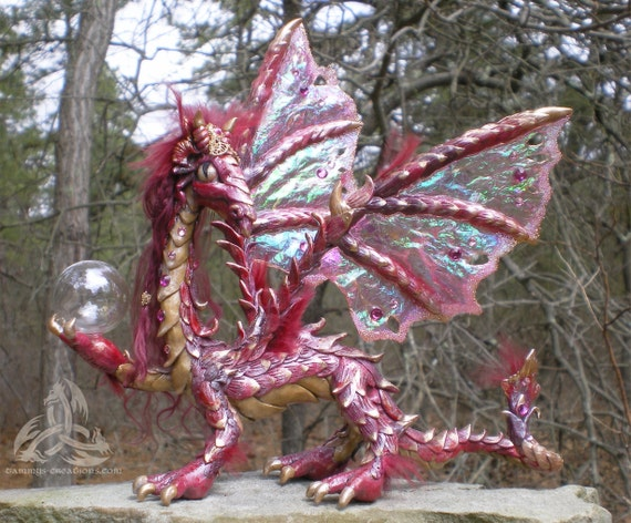 Ruby Red Jeweled Dragon with Crystal Ball, OOAK, Elfwood Moderators PICK with Swarovski Crystals/Free Standard Shipping