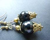 Black earrings Vintage earrings dangle crystal brass drops