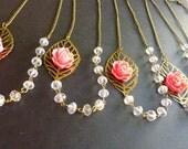 Bridesmaid Necklaces SET of 5 - clear crystal hot pink fuchsia vintage asymmetrical bib necklace - Bridal Bridesmaid Gifts