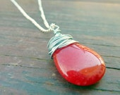 Wire wrapped pendant necklace strawberry ruby red jade teardrop briolette beads