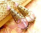 Purple Pink Earrings Pink Crystal drops brass filigree