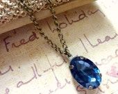 Sapphire Blue Necklace Vintage necklace navy blue estate style jewel pendant chain