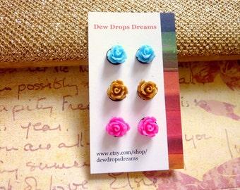 Rose flower earrings, post stud resin earrings blue, brown and pink