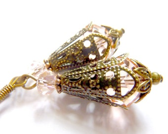 Vintage earrings pale pink dusty rose transparent crystal earrings