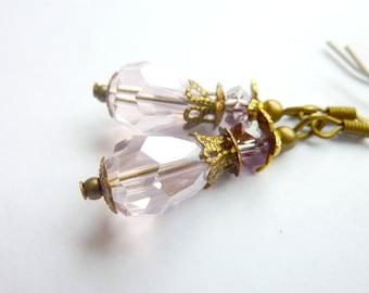 Blush Pink Earrings Pale pink Crystal Teardrop Vintage Inspired Dangle Earrings