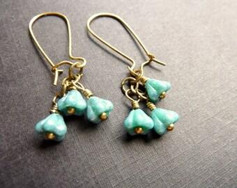 Blue Bell Flower earrings turquoise blue cascading Czech flowers