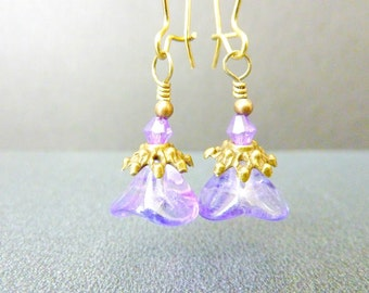 Lavender Earrings Purple Earrings Flower Earrings, Handmade Jewelry, Vintage Style, Czech Bell Flower Earrings
