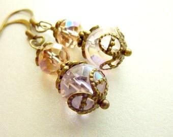 Dusty Rose earrings pale pink pastel vintage crystal earrings