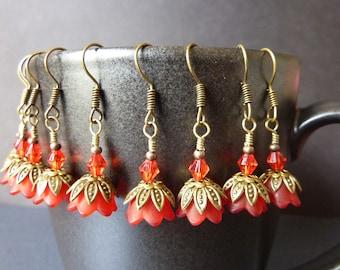 BRIDESMAIDS EARRINGS red earrings flower vintage style red bell flower wedding bridal jewelry
