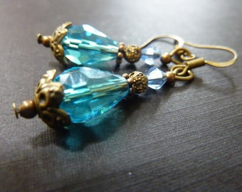 Aqua Blue earrings Dangle earrings teardrop crystal earrings