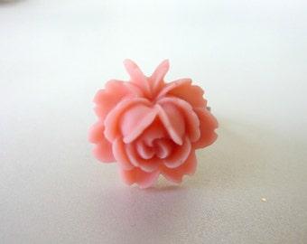 CORAL Peach ring FLOWER RING pink ring resin adjustable brass vintage ring