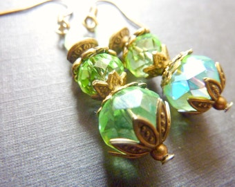 Peridot earrings Peridot green earrings vintage transparent crystal Drops
