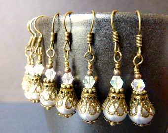 Set of 5 silver bridesmaids earrings pale silver glass pearls brass vintage style