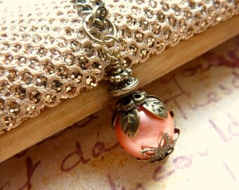 Orange necklace orange peach pearls Vintage necklace