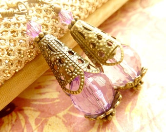 Purple Pink Earrings Pink Crystal drops brass filigree