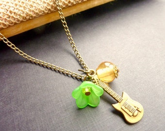 Guitar necklace Vintage charm green flower gold bead brass chain pendant