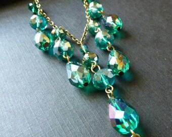 Emerald  necklace vintage green necklace drop teardrop crystal gothic wedding bridal