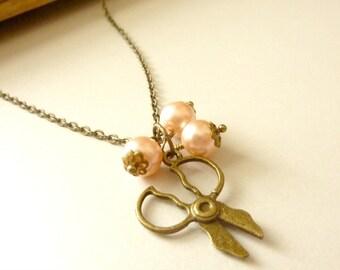 Scissors necklace Vintage necklace brass scissors charm chain pale peach pearls