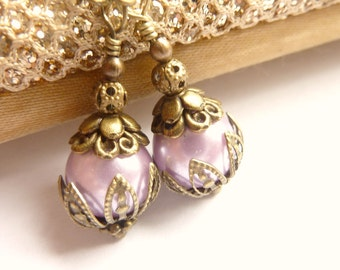 Lilac earrings purple pearl earrings Vintage dangles pale lilac purple glass pearl drops
