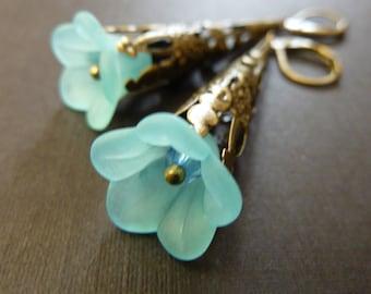 Flower earrings light pale blue flower brass estate style earrings