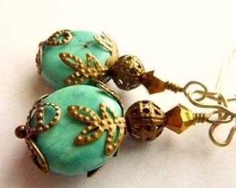 Turquoise earrings vintage bridal bridesmaids earrings