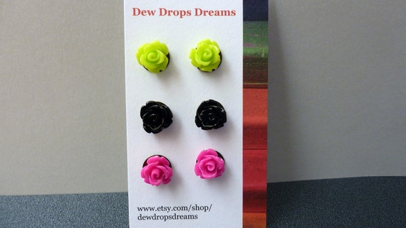 Flower earrings, post studs rose earrings resin lucite 3 pairs, soft lime green, midnight black and hot pink