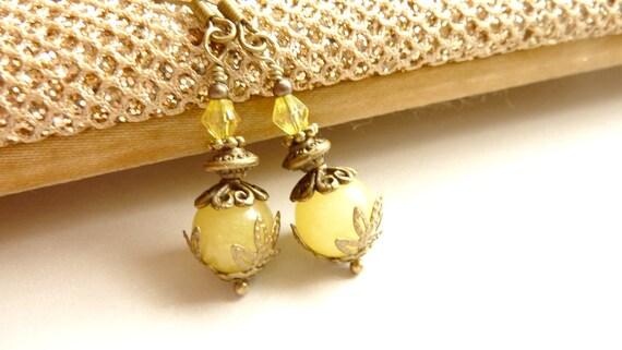 Pale yellow earrings vintage earrings yellow jade drops